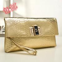 2014 free shipping shinny PU leather women handbag fashion day clutch gold clutch envelope bag for small Crocodile bags
