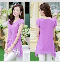 pink purple yellow Summer cool short-sleeve plus size print loose chiffon shirt basic shirt female