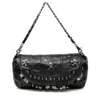 Women's Bags New Fashion Genuine Leather Bag Skull Sequins Women Handbag Sheepskin Patchwork Bags Shoulder Messenger Bags1064