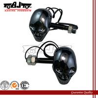SL-015 Bright Black Motorcycle Skull 4 LED Turn Signals Indicators  Lights for honda yamaha kawasaki suzuki ducati harley