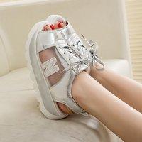 2014 summer gauze casual platform shoes platform genuine leather sports wedges female sandals free shipping 3colors