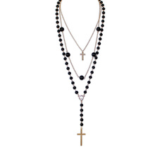 Hot Sale Black Beaded 3 Multi Layers Women Fashion Long Cross Pendant Necklace. Wholesale Handmade Necklace Cross Jewelry
