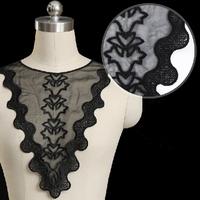 5pc 29x35cm Embroidery Neckline Lace Applique Black Organza Collar Dentelle Guipure Motif Patches Garment Accessories AC0279