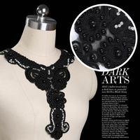 3pc 27x32cm Beaded Neckline Collar Applique Black Pearl Rhinestone Lace Motif Applique Guipure Patches Sewing Supplies AC0282