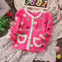 New 2014 Wholesale 4pcs/lot Children cardigan coat,girl long-sleeved t-shirt,Children's clothes,100%cotton,Children bear coat
