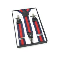 Men's Genuine Leather Y-back Clip-on Suspender Brand Red Brace Elastic Plain Pants Strap Clip