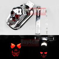 Chrome Motorcycle Skull Brake Light Red Rear Tail Light LED for Honda Harley Suzuki #3531