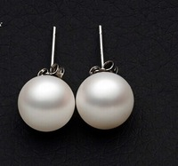 925PE-001 Free Shipping Sterling Silver White Round Pearl Stud Earrings Wholesale, Women Jewelry 2014 The Birthday Gifts