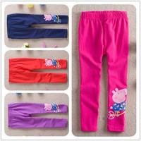 2014 Summer cotton regual Mid Peppa Pig pattern Baby girls leggings kids straight trousers Pants for 2-6 years girl leggings