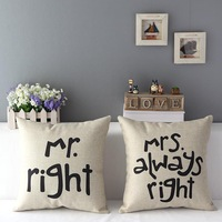 mr mrs always right decorate linen pillows cushion cover decorative throw pillow case