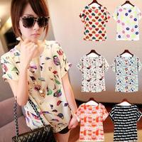 New 2014 summer dress loose plus size chiffon shirt short-sleeve shirt pullover women shirt print t-shirt casual C39