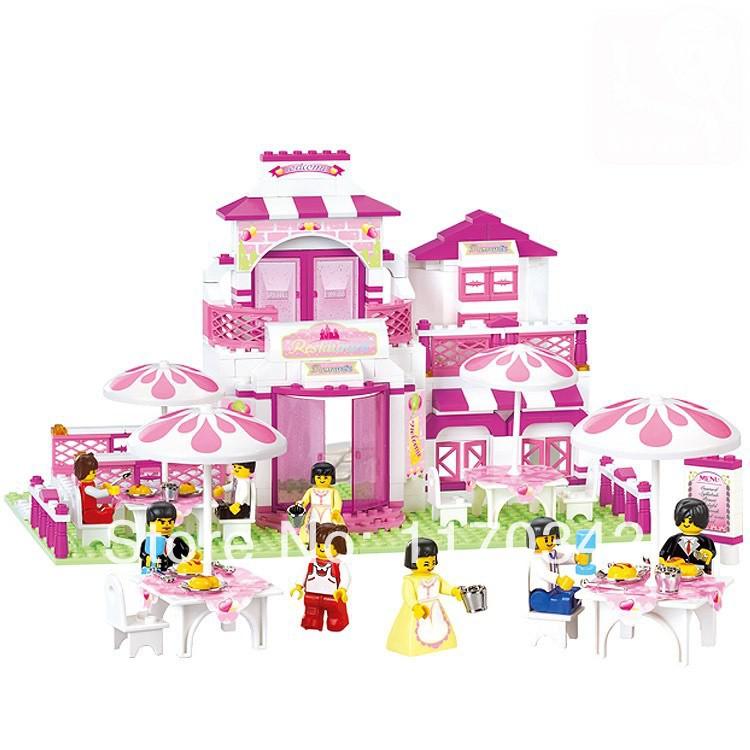 sluban مطعم رومانسي الوردي سلسلة الحلم b0150 306 مجموعات جهاز كمبيوتر شخصى بنة diy التعليمية اللعب ليغو الطوب متوافق مع