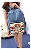 HOT! Denim Vintage Postmark Backpack Preppy Chic School Bag Canvas Bag Travel Bag
