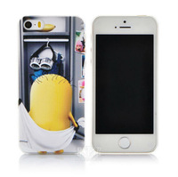 New arrival cute cartoon Despicable Me Yellow Minion pattern hard Cover case for apple iphone 5 5S PT1276