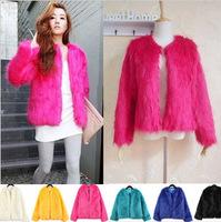2014 fashion Vintage Women Faux Fur Coat Winter Warm Outwear Long Hair Jackets Overcoat Tops