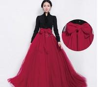 9808 2014 spring and summer high waist gauze bow big skirt full skirt