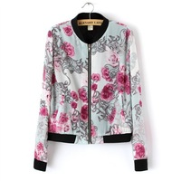 2014 New Girls Fashion Floral Prints Casual Bomber Jackets Women Coat 4032306604