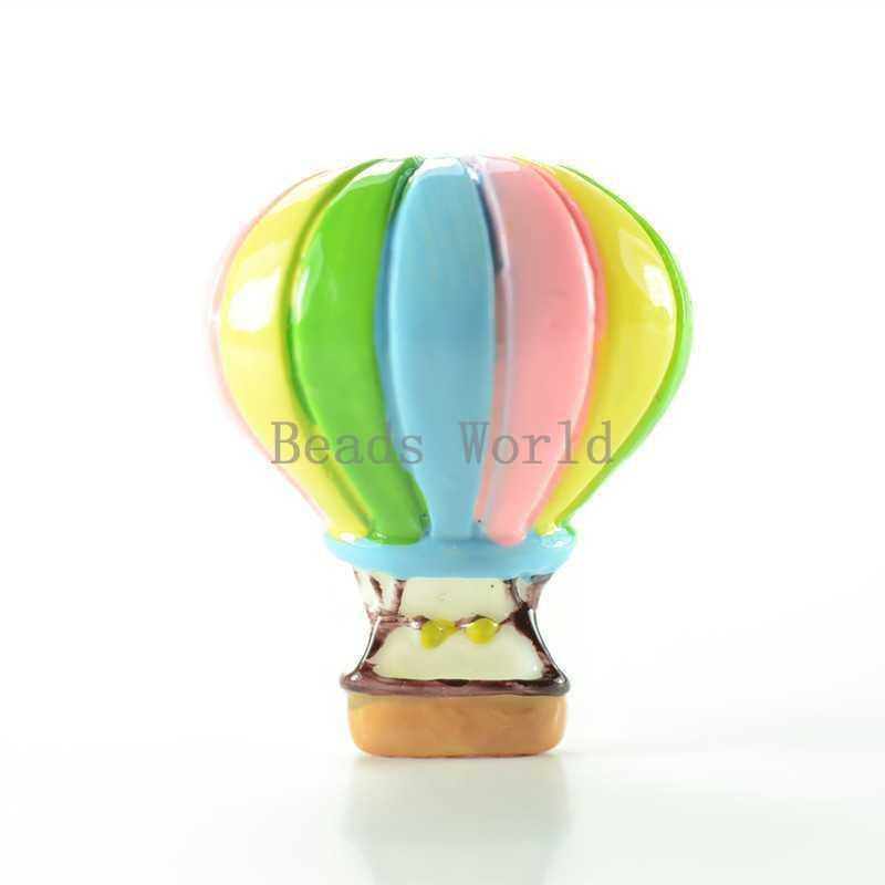 10 Pcs Multicolor Hot Air Balloon Resin Flatback Scrapbook Embellishment 29x24mm DIY Kids Hair Jewelry Findings