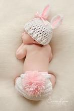 2014 nova grátis frete Handmade recém-nascido adorável rosa coelho do bebê fotografia Props Crochet gorro de malha de algodão conjunto ternos C709008(China (Mainland))