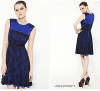6a118980 fashion o-neck lace patchwork double layer one-piece dress