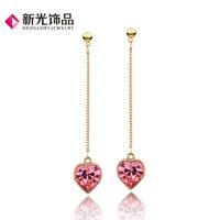 Neoglory accessories heart crystal drop earring female fashion long design earrings
