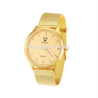 2014 New Fashion Women Dress Watches Trend Alloy Chain Bracelet Golden Watches