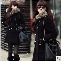 2013 winter women's double breasted medium-long slim with a hood fur collar wool coat wool woolen outerwear