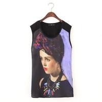 ST2247 New Fashion Ladies' elegant beauty girl print blouses sexy vintage sleeveless Shirt casual slim brand designer tops