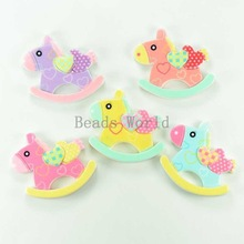 20 Pcs Mixed Rocking Horse Resin Flatback Scrapbook Embellishment 33x28mm DIY Kids Hair Accessories Jewelry Findings(W03809 X 1)
