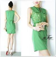 1z60505 n vintage ol dress step lace slim waist slim hip short tank dress one-piece dress