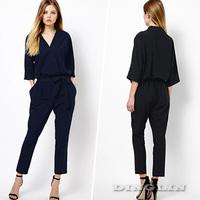 2014 Fashion Ladies V-Neck Pocket Elastic Waist Stretch Women Jumpsuit Casual Romper Pants Black Size S M L Free Shipping 0522