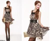 118989 sexy leopard print patchwork color block chiffon princess dress one-piece dress belt