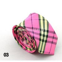 pink colors Stripe Silk Jacquard Skinny Narrow Slim Man Tie Necktie