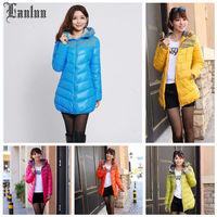 Lanluu Top Quality 2014 New Winter & Autum Slim Women Down Jackets Long Bright Side Women Coat SQ594