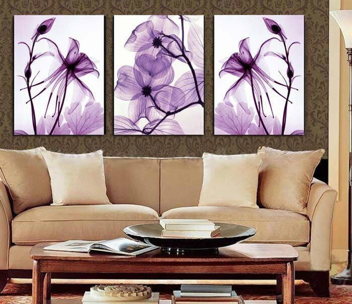 Hot Sell Transparent Purple Flowers Oil Painting on Canvas Set Abstract Art  Modern Home Decoration Wall picture 3 piece 16X24. Best Decorative Art 100  Handmade Oil Painting On Canvas Living