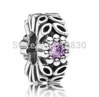 Sparkling Forest Flower Spacer Charm For Bracelet Sterling 925 Silver