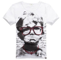2014 Good Quality Men's O Neck Child crying face printing Cotton Short Sleeve t shirts Summer Fashion Top Tees White M-XXL