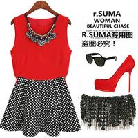 new lady  Chiffon VEST dot Skirts Fashion Women's Sets Given the necklace 3 colour TQ613