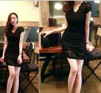 4652 sexy slim hip lace one-piece dress
