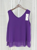 Purple See Through Double Layer Sleeveless Chiffon Camisoles Tank Tops Lady Vests Cropped Top