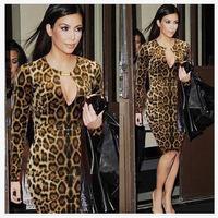 New 2014 Spring Winter Women Fashion Leopard Print Work Wear Pencil Dress Long Sleeve Knee Length Bandage Dress Drop Ship 9017
