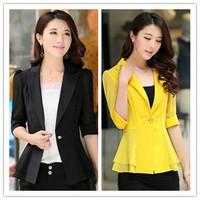 Hot Sale Womens Designer Slim Waist Half Sleeve One Button 6Colors S-XXL Blazer Office Lady Work Wear Suit 2014Summer/Autumn