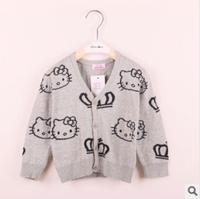 2014 new hello kitty girl warm sweater cartoon children cardigan clothes brand baby wear kids outerwear