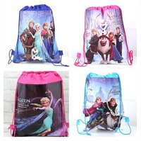 Wholesale!100PCS children's backpack frozen princess doll Children Backpacks Printed School Bags For Girl Non-woven Bag