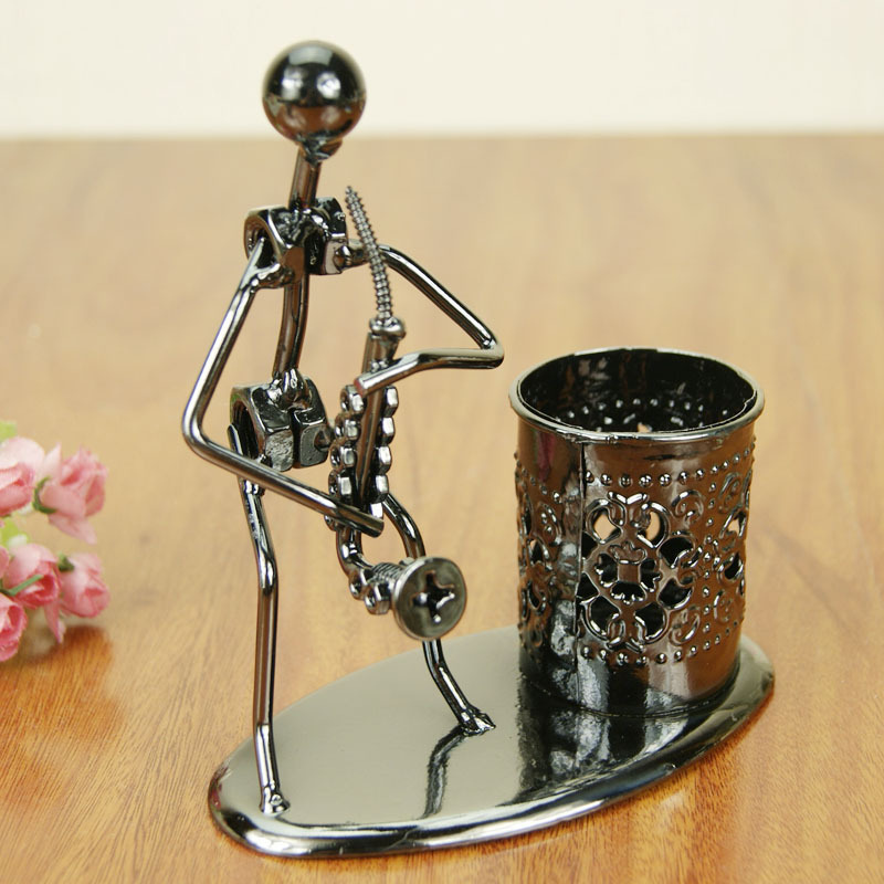 Modern Style Iron Antique Cool Music Band Musicians Instruments Model Pen Container Metal Craft Home Decoration Birthday Gift(China (Mainland))