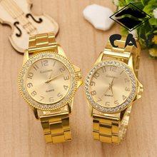 Gold Dial  Stainless Steel Band Rhinestone Dress Watch High Quality Quartz Watch Woman Men Watch Couple watch(China (Mainland))