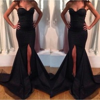 90s Amazing Evening Dresses New Arrival Mermaid Black Satin Split Long Fashion Evening Party Gown Customer Made Fast Shipping