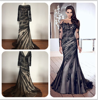 Real Sample Black Sheer   Backless Covered Button Long Sleeve Lace Applique  Mermaid Formal Evening Dresses