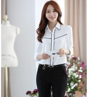 New Arrival Women's Cotton+Ployester blouse&Shirts Office Ladies Work Wear loose Long sleeve Formal Shirts For 2014Summer/Autumn