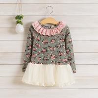 2014 New,girls floral dress,children autumn princess dress,long sleeve,lace,cotton,5 pcs / lot,wholesale,1501